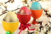 Easter eggs in colorful trays on wooden table — Stock Photo