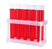 Reageerbuisjes in laboratorium geïsoleerd op wit — Stockfoto