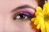 Beautiful female eye with bright make-up — Stockfoto
