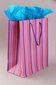 Gri arka plan üzerinde çizgili alışveriş çantası — Stok fotoğraf