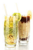 Delicious fruit smoothies isolated on white — Stock Photo