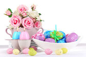 Place setting for Easter isolated on white — Stock Photo