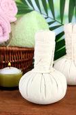 Textile massage spa equipment on nature background — Stock Photo