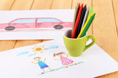 Colorful pencils in cup on table — Stock Photo