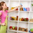 Young housewife cleaning up kitchen on grey background — Stock Photo #24281581