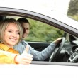 Portrait of young beautiful couple sitting in the car — Stock Photo #24282131