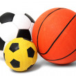 Basketball and football balls isolated on white — Stock Photo