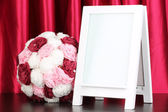 White photo frame for home decoration on curtains background — Stock Photo
