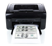 Printer printing fake dollar bills isolated on white — Stock Photo