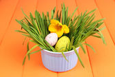 Easter egg in bowl with grass on orange wooden table close up — Stock Photo