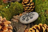 Servet taş üzerine sembollerle anlatmaya yakın çekim — Stok fotoğraf