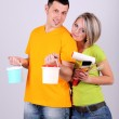 Young couple doing renovation together — Stock Photo #24404639