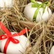 Decorative Easter eggs in wooden basket close up — Stock fotografie