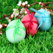 Colorful eastern eggs on grass background — Stock Photo #24414415