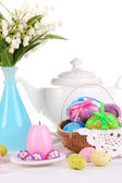 Place setting for Easter isolated on white — Stok fotoğraf
