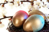 Easter eggs in nest with flowering branches on wooden table close-up — Stock Photo