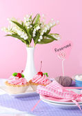 Tableware for tea drinking on bright background — Stok fotoğraf