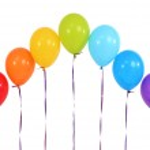 Rainbow of balloons isolated on white — Stock Photo #24446477