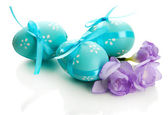 Bright easter eggs with bows and flowers, isolated on white — Stok fotoğraf
