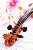 古典小提琴与笔记上的花朵 — 图库照片