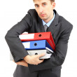 Young businessman with folders isolated on whit — Stock Photo
