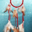 Beautiful dream catcher on blue background with lights — Stock Photo #24509431