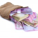 Постер, плакат: Burlap bag with Ukrainian money