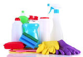 Bottles of dishwashing liquid and kitchen cleaners, isolated on white — Stock Photo