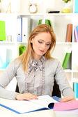 Portrait of teacher woman working in classroom — Stock Photo