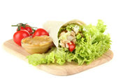 Kebab - grilled meat and vegetables, on wooden board, isolated on white — Stock Photo