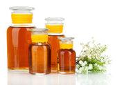 Botellas de medicina aisladas en blanco — Foto de Stock