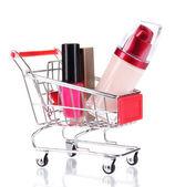 Cosmetics in cart — Stock Photo