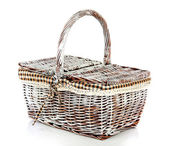 Picnic basket, isolated on white — Stockfoto