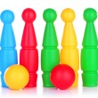Colorful plastic skittles of toy bowling isolated on white — Stock Photo #24510041