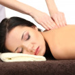 Beautiful young woman in spa salon getting massage, isolated on white — Stock Photo #24510539