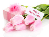 Beautiful bouquet of pink tulips and gift for Mother's Day, isolated on white — Stock Photo