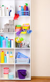 Shelves in pantry with cleaners for home close-up — Stockfoto