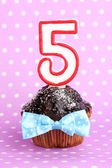Birthday cupcake with chocolate frosting on lilac background — Stock Photo