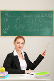 Portrait of teacher woman working in the classroom — Stock Photo