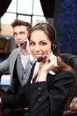 Operatori del centro di chiamata al lavoro — Foto Stock