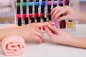 Manicure process in beauty salon — Stock Photo