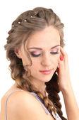 Mujer joven con peinado — Foto de Stock