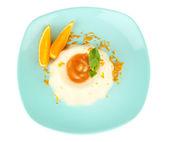 Panna Cotta with orange zest and caramel sauce — Stock Photo