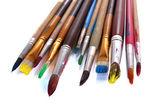 Molti pennello in primo piano vernice — Foto Stock