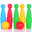 Colorful plastic skittles of toy bowling isolated on white — Stock Photo #24551655