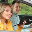 Couple sitting in the car — Stock Photo