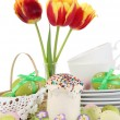 Place setting for Easter close up — Foto Stock