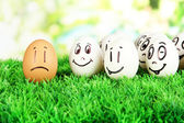 Eggs with funny faces — Stock Photo