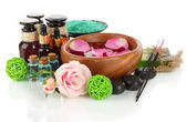 Spa composition with aroma oils isolated on white — Stock Photo