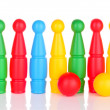 Colorful plastic skittles of toy bowling isolated on white — Stock Photo #24593361